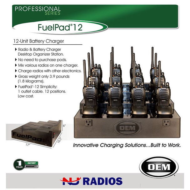 The FuelPad12 is a 9 to 12 Unit Battery Charger for Two Way Radios by Kenwood or Motorola or Blackbox. Radio & Battery Charger Desktop Organizer Station. Weighs only 3.9 pounds.