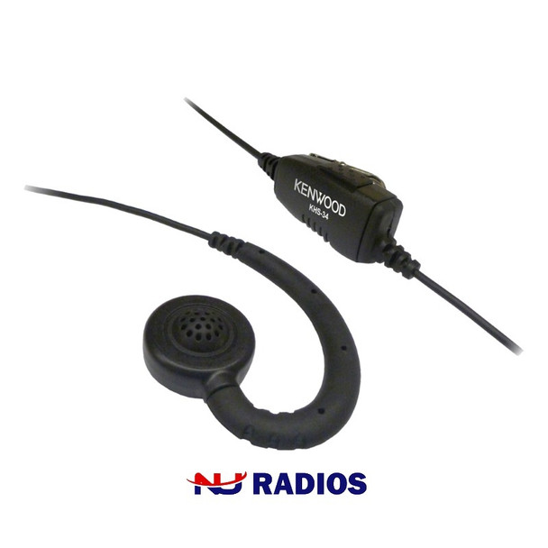 KHS 34 Kenwood Earpiece has Push-to-Talk Microphone with Ear Clip. Discrete C-Ring earpiece with convenient In-Line PTT for the PKT / LT series radios - PKT23, PKT23K