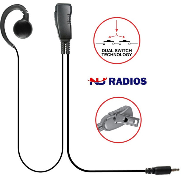 LMC-1GH-21 is an aftermarket G-Hook Swivel earset with clip-on microphone and includes PTT and stainless steel clip that rotates 360˚ for easy use. The straight cables are very flexible and easy to use. The high quality speaker delivers loud, crisp audio.