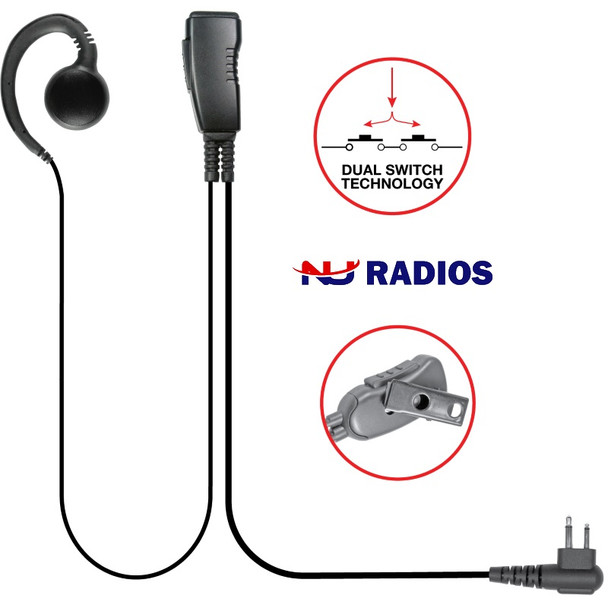 The Aftermarket Kenwood LMC-1GH Series Lapel Microphone with SWIVEL (we call G-Hook) Earpiece that can be used on either ear and is easy to clean and use.