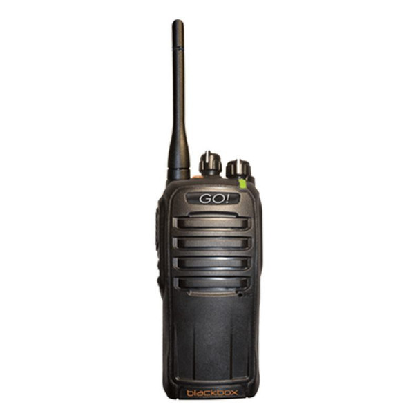 The Blackbox DMR UHF GO 2-way radio offers 32 UHF channels in digital analog capability in an affordable radio. IP56 water resistant construction for durability.