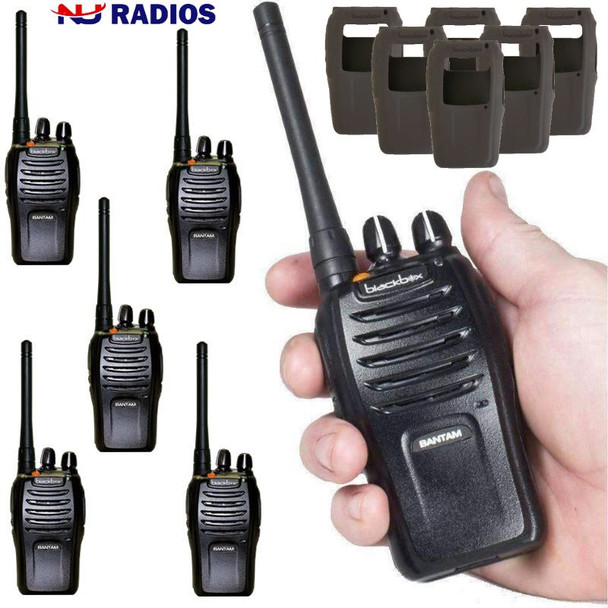 Six Pack with Silicone Case include of the BlackBox Bantam Portable 2 Way Radios. Great for Professional use! The BlackBox Bantam Radios are Palm size and is small but powerful.