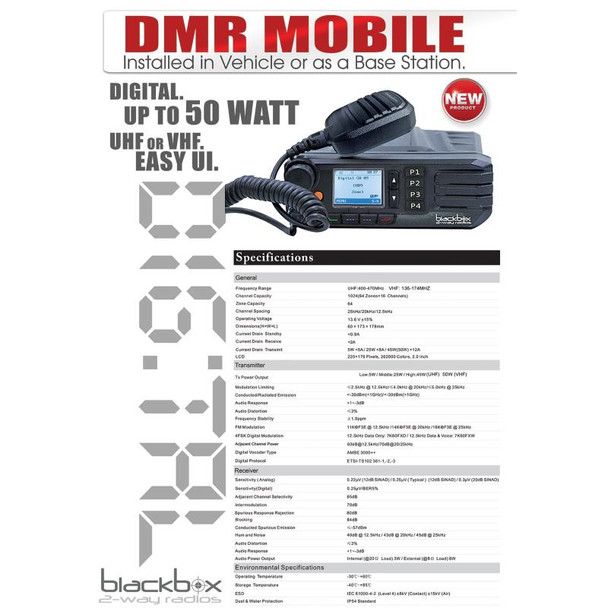 Blackbox Mobile VHF 50 Watt 1000CH 2-Way Radio DMR GO Digital