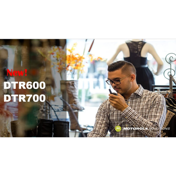 With the Motorola DTR700 digital technology, voice communications are louder and clearer across an extended range without static ensuring that your voice is crisp and clear even at the outside edge of coverage.