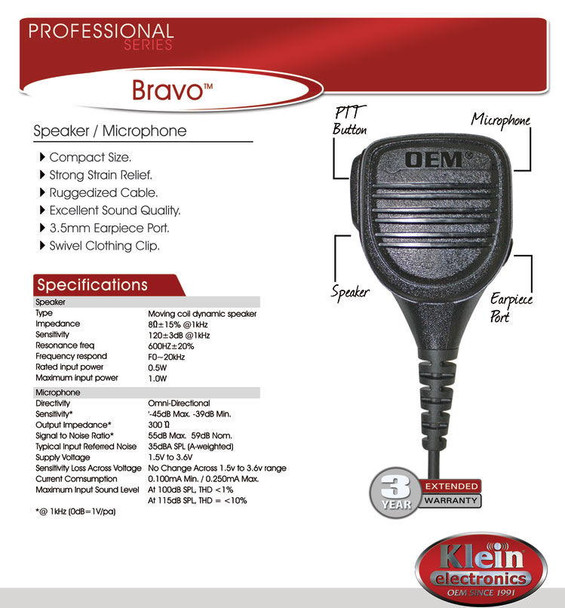 Remote Speaker Microphone Bravo by Blackbox. This compact remote speaker microphone easily clips onto a shirt or collar, allowing you to speak and listen without touching the radio.
