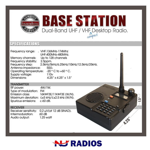 It is great for education, industrial, healthcare, hospitality, retail, warehousing, security, an the list goes on and on. The Blackbox Digital DMR Base Station comes with everything you need, Radio, Antenna, USB Programming Cable, Software and AC Adapter. Simple one-press UHF / VHF swap is built into this Dual Band Base Station. The PTT button is also the loud and clear speaker! Designed for Retail Stores, Front Desk Reception, Job Sites and Warehouse.