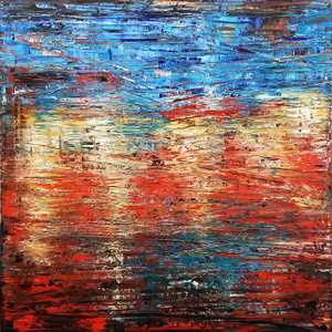 BLUE YELLOW RED ABSTRACT (Q22) BY AL RAZZA