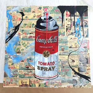 CAMPBELL'S TOMATO SPRAY COLLAGE (ORIGINAL) BY MR. BRAINWASH