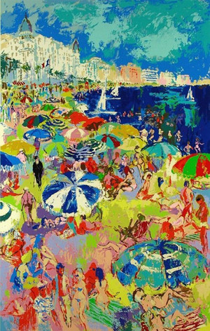 BEACHES AT CANNES BY LEROY NEIMAN