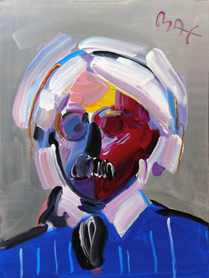 ANDY WITH MUSTACHE (1998) BY PETER MAX