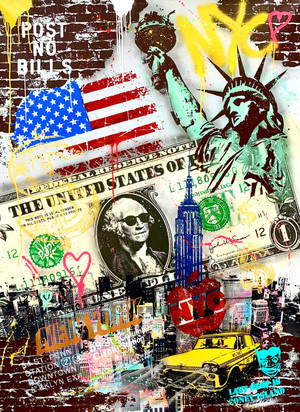 NYC BIG POP ART DOLLAR BY MICHEL FRIESS