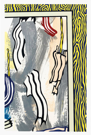 PAINTING ON BLUE AND YELLOW WALL BY ROY LICHTENSTEIN