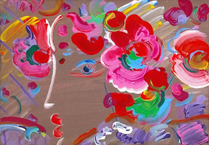 PROFILE WITH FLOWERS (ORIGINAL) BY PETER MAX