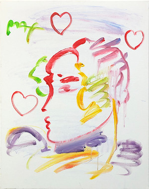 PROFILE PORTRAIT RED HEARTS (ORIGINAL) BY PETER MAX