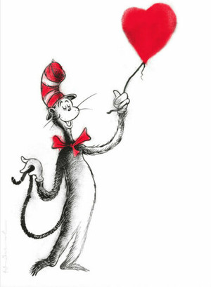 THE CAT AND THE HEART BALLOON (RED) BY MR. BRAINWASH