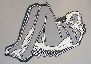 MONICA LYING ON BACK KNEES UP BY TOM WESSELMANN
