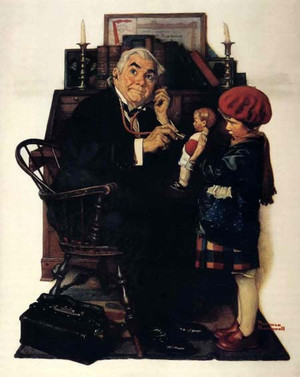 DOCTOR AND DOLL BY NORMAN ROCKWELL