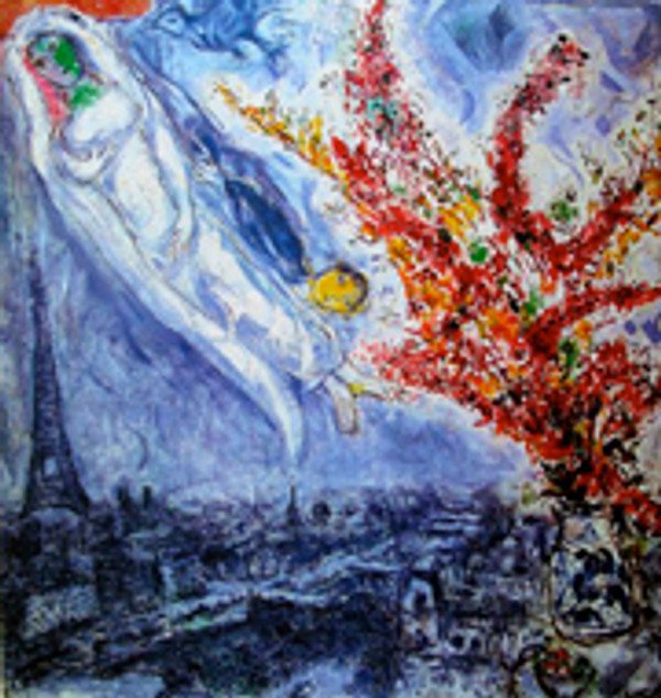 FLOWERS OVER PARIS BY MARC CHAGALL