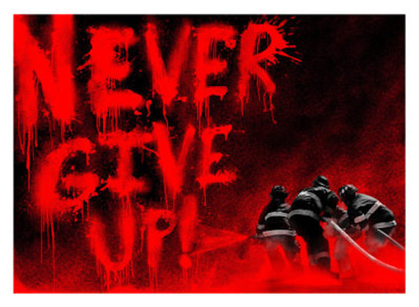 SUPERHEROES (RED) NEVER GIVE UP BY MR. BRAINWASH