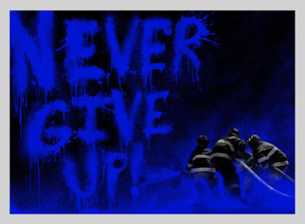 SUPERHEROES (BLUE) NEVER GIVE UP BY MR. BRAINWASH