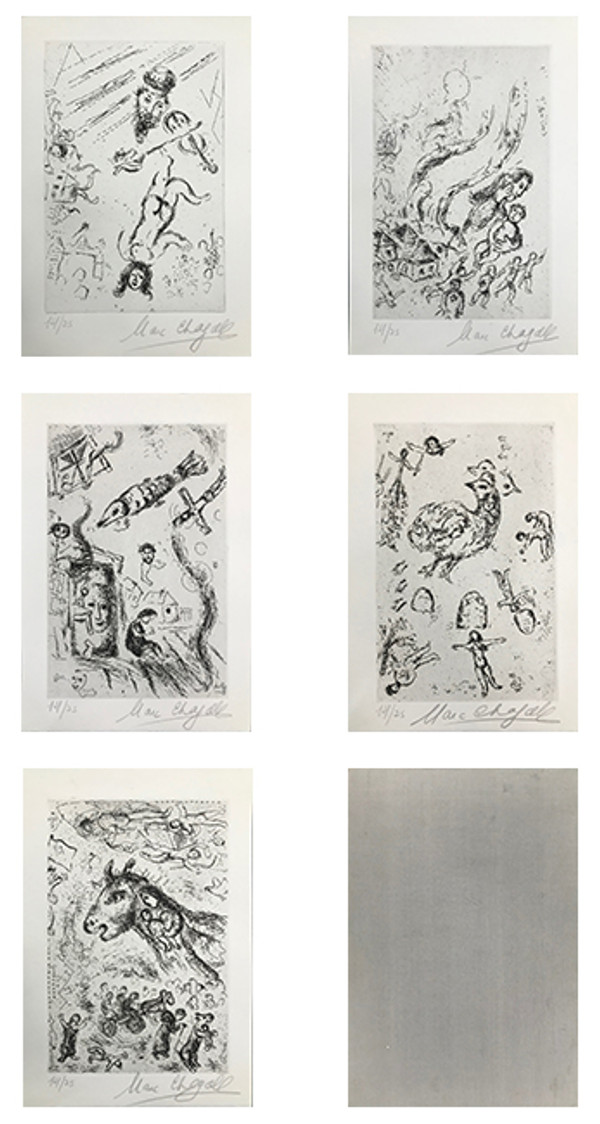 LETTRE A MARCH CHAGAL (SET OF 5) BY MARC CHAGALL