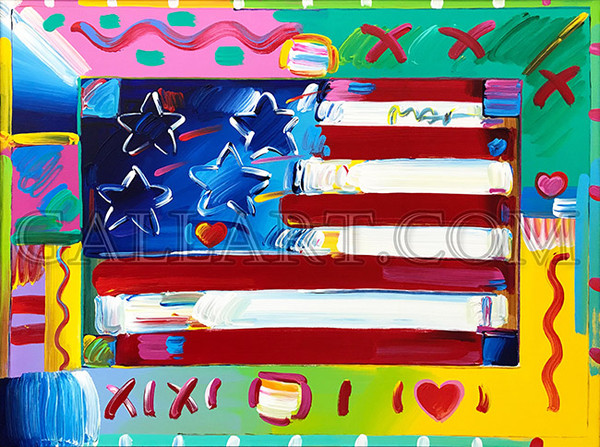FLAG WITH HEART (ORIGINAL) BY PETER MAX