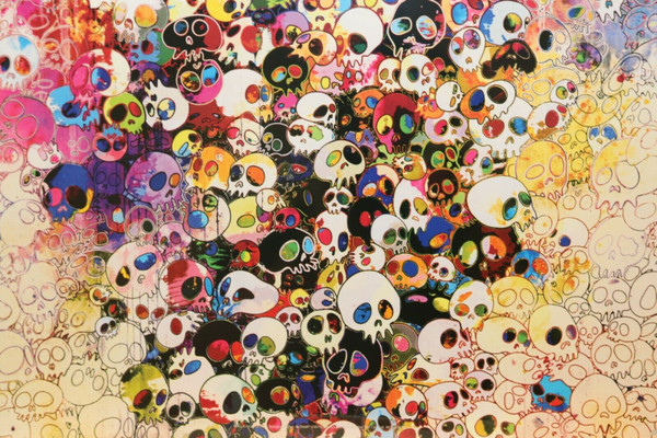 WHOS AFRAID OF RED, YELLOW, BLUE AND DEATH BY TAKASHI MURAKAMI