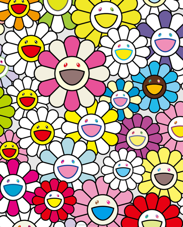 A LITTLE FLOWER PAINTING PINK, PURPLE AND MANY OTHERS BY TAKASHI MURAKAMI