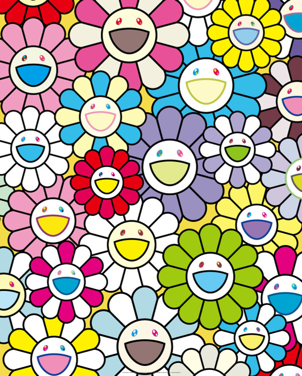 A LITTLE FLOWER PAINTING YELLOW, WHITE AND PURPLE FLOWERS BY TAKASHI MURAKAMI