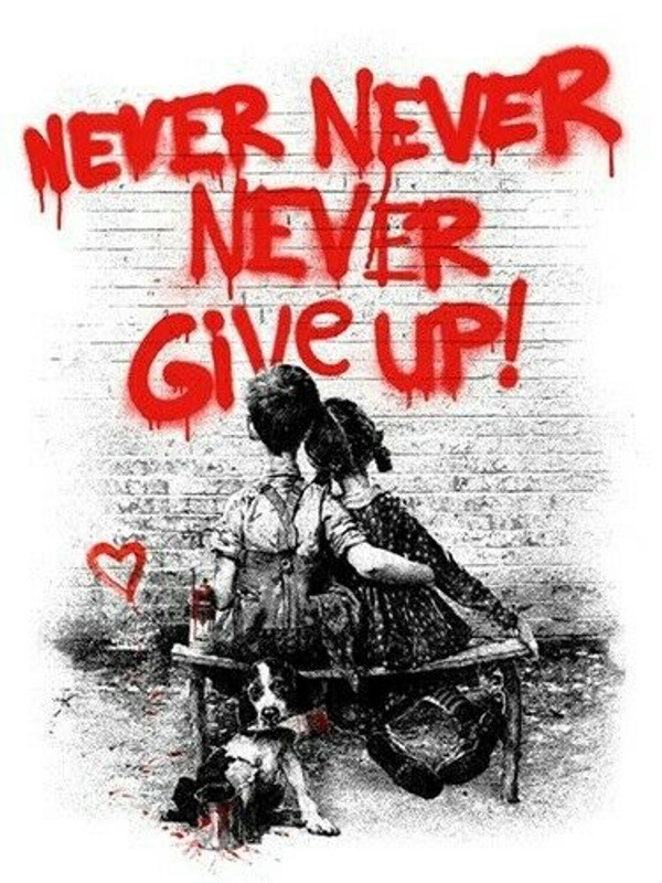 DON'T (NEVER) GIVE UP (RED) BY MR. BRAINWASH