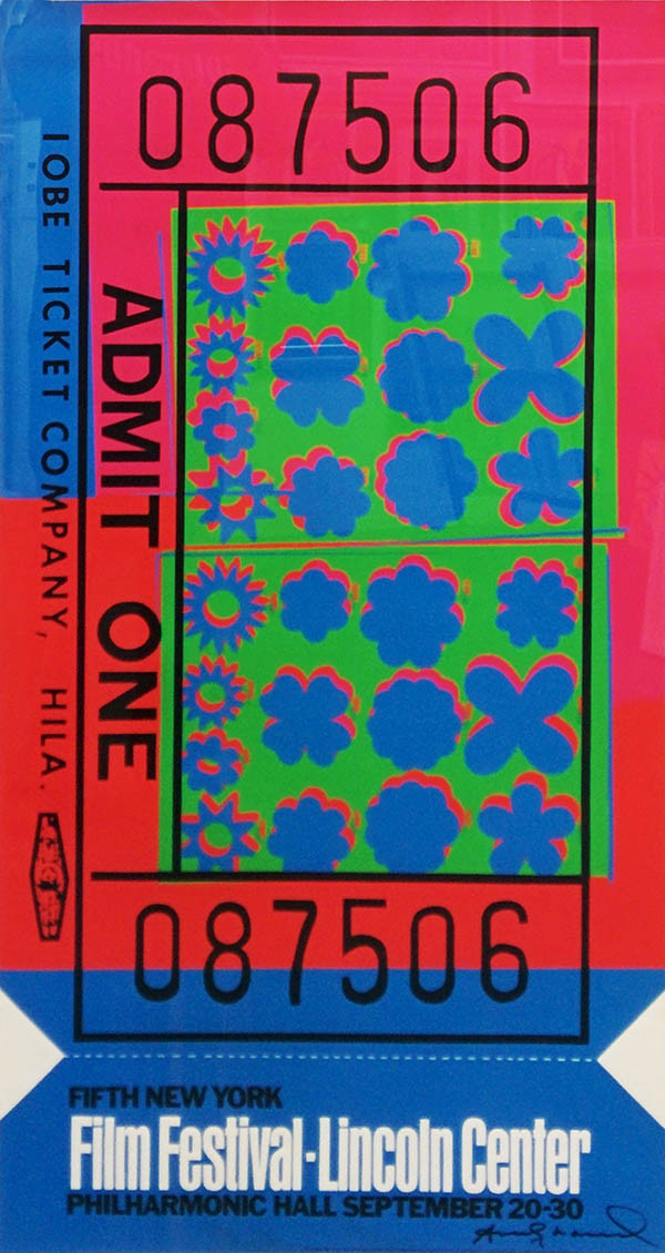 LINCOLN CENTER TICKET (SIGNED) BY ANDY WARHOL