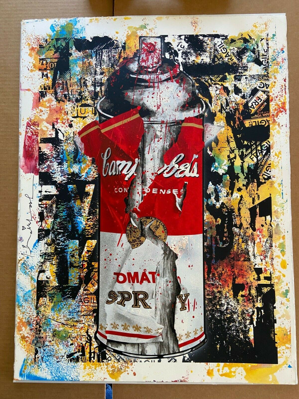 TORN CAMPBELL'S TOMATO SPRAY CAN (ORIGINAL) BY MR. BRAINWASH