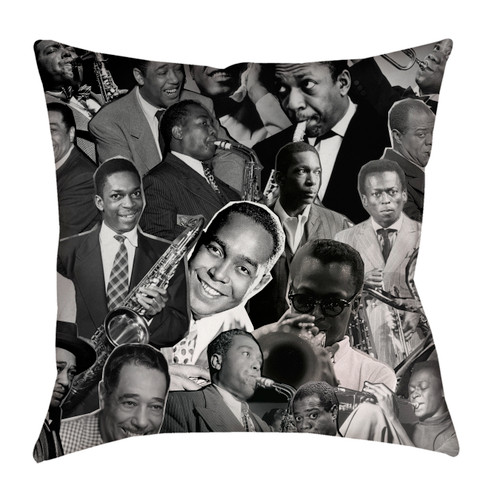 Jazz Legends (Miles Davis, Charlie Parker, John Coltrane, Louis Armstrong & Duke Ellington) pillowcase