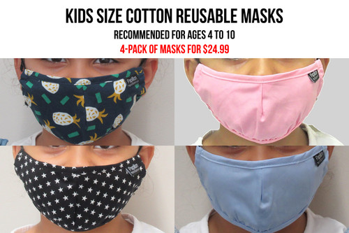 Kids Cotton Face Masks 4-pack