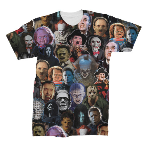 Horror Movie Character Collage T-Shirt
