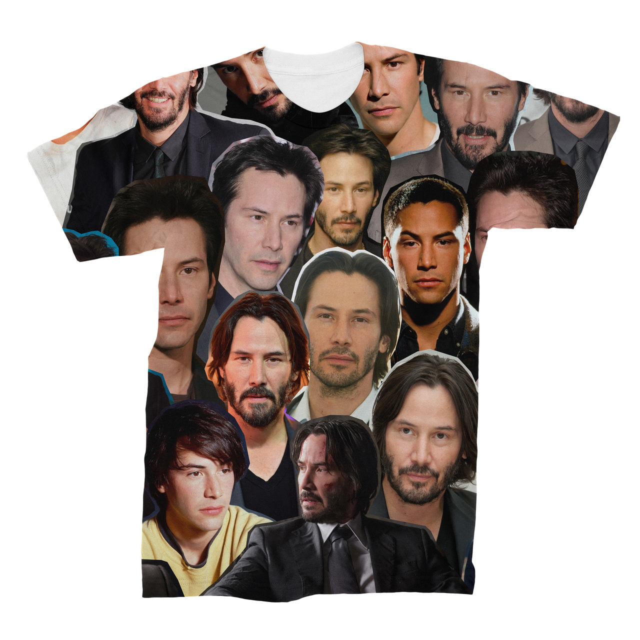 5f3bf36eb60670 Keanu Reeves Photo Collage T-Shirt - Subliworks