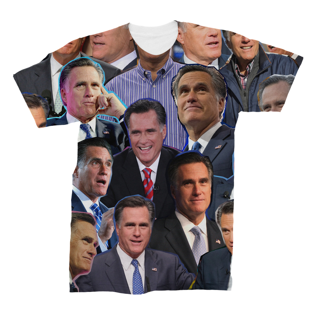 b84537214a1f1e Mitt Romney Photo Collage T-Shirt - Subliworks