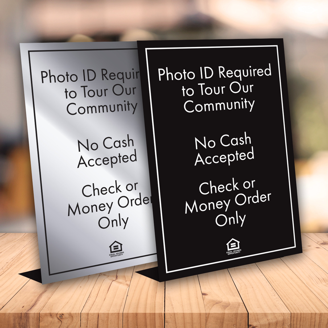Combo Sign No Cash/ID Required- Engraved Plastic