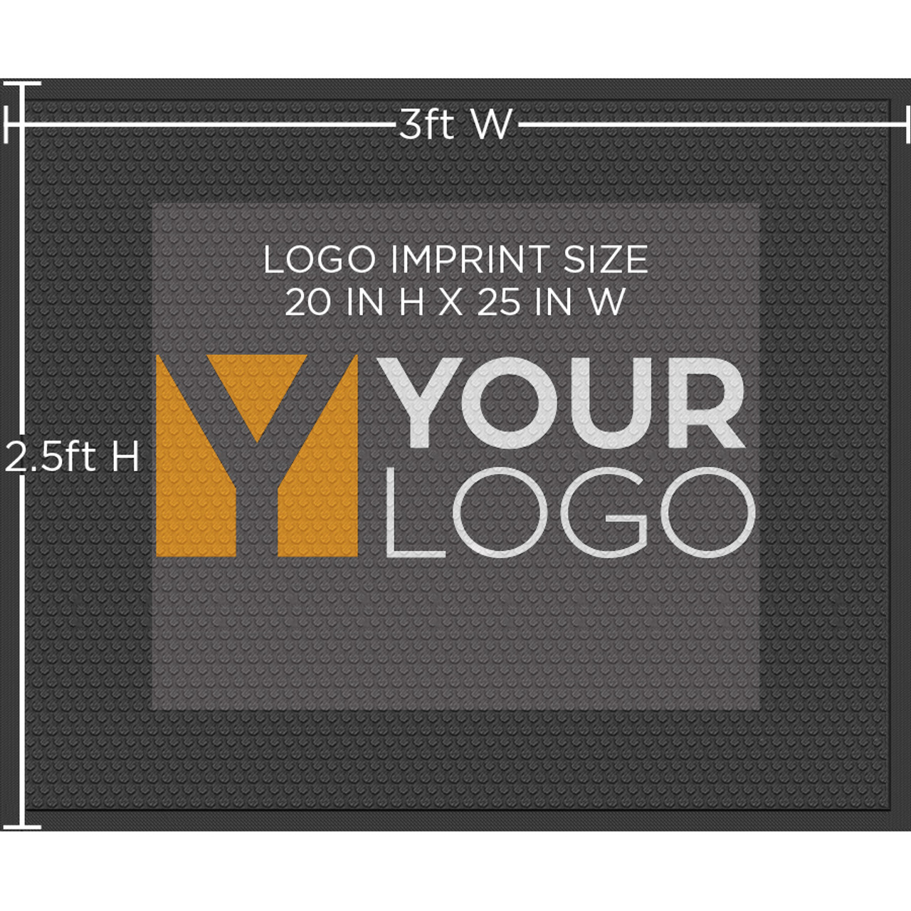 Rubber Scraper 2.5ft X 3ft Logo Mat | Indoor/Outdoor