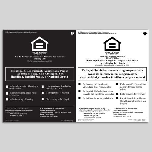 HUD Fair Housing PVC Sign- Bilingual