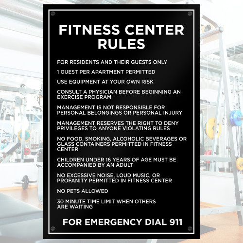 Fitness Center Rules - 20in W X 30in H