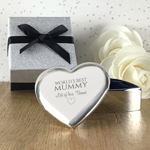 Personalised engraved gift for mummy, silver plated heart trinket box