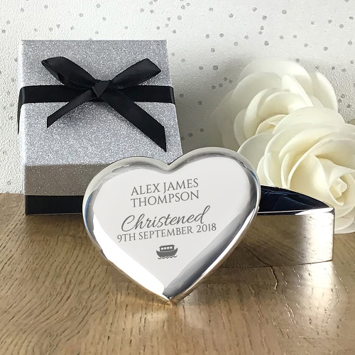 Silver plated engraved heart trinket box, personalised for a christening, baptism, confirmation or naming day