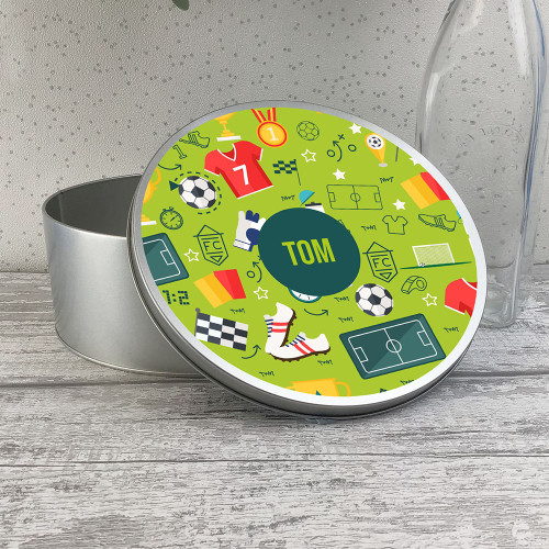 Football themed kids round storage tin, biscuit tin