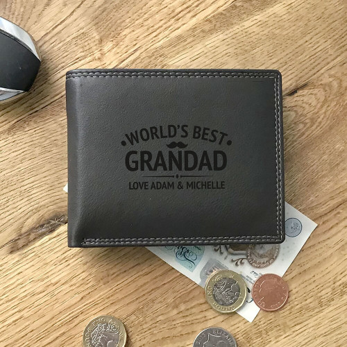 World's best daddy personalised engraved leather tri-fold wallet gift
