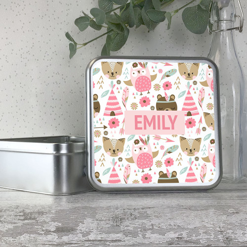 Cute woodland animal kids storage tin gift