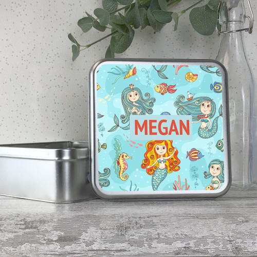 Mermaids themed storage tin gift idea for kids