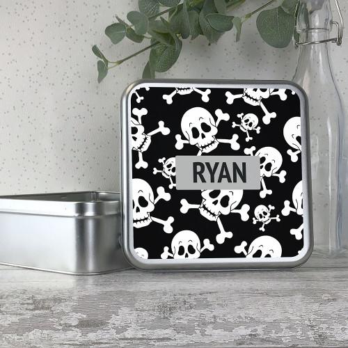 Pirate, skull and crossbone themed kids storage tin gift idea