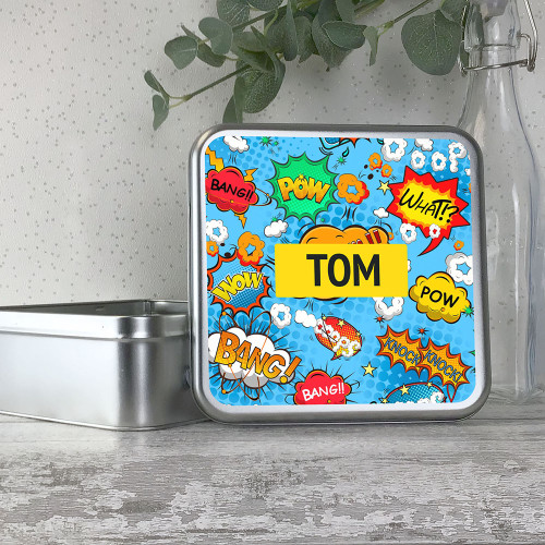 Comic book super hero kids storage tin gift idea