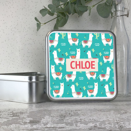 Llama alpaca themed personalised metal storage tin box gift